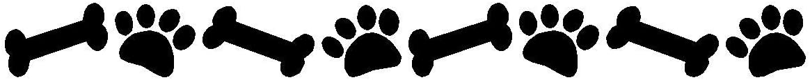 "Dog Paw Prints And Bones Wall Decal Removable Pet Stickers Dog Wall Decor 3"" x 34"""