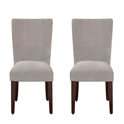 Kinfine Parsons Upholstered Accent Dining Chair, Set of 2, Grey Velvet (Upholstered Accent Chairs)