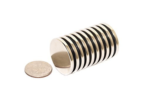 Revitalizaire 1/8 Inch Thick N42 Neodymium Disc Magnets 1.3 Inch Diameter 10-Pack. Powerful NdFeB Rare Earth Magnets Coated with Thick Nickel and Copper Plating. Silver Color