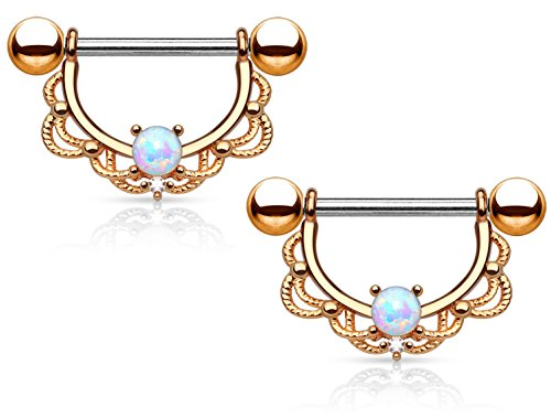 Pair of Opal Centered Filigree Drop Nipple Rings Barbell Barbells 316L Stainless Steel 14G - Sold as a Pair (Rose Gold Tone)