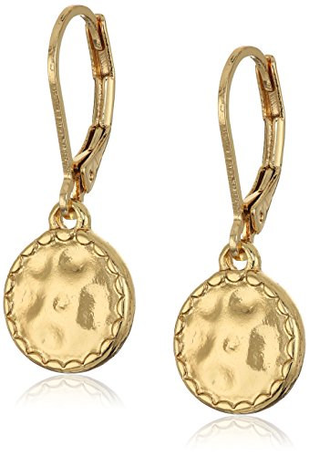 "Napier ""Classics"" Gold-Tone Hammered Disk Drop Earrings"