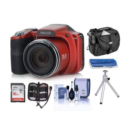 Minolta M35Z 20MP 1080p HD Bridge Digital Camera with 35x Optical Zoom, RED - Bundle with Camera Case, 16GB SDHC Card, Memory Wallet, Cleaning Kit, Card Read er, Tabletop Tripod