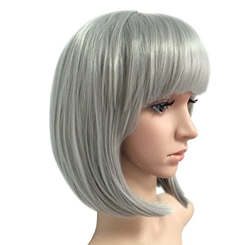 eNilecor Short Bob Hair Wigs 12 Straight with Flat Bangs Synthetic Colorful Cosplay Daily Party Wig for Women Natural As Real Hair+ Free Wig Cap (Silver Grey)