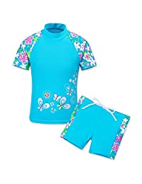 HUANQIUE Girls Swimsuit UPF50+ 1-12 Years Two Piece Tankini
