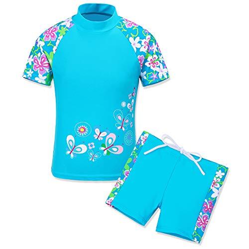 HUANQIUE Girls Swimsuit UPF50+ Two Piece Tankini Blue Short 7-8 Years