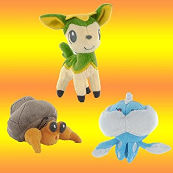 Colección de 3 Peluches Pokemon Deerling Dwebble Vanillite (A)