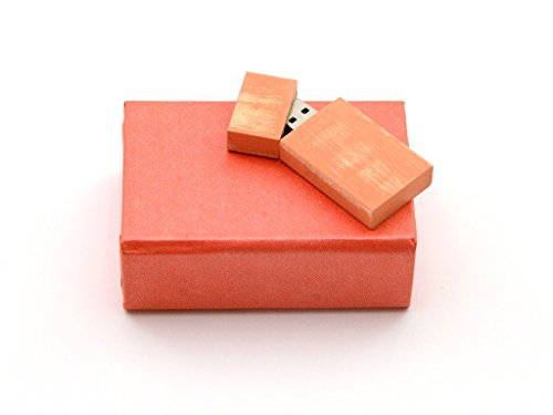 Maple Wood Antique Style 8GB Flash Drive - Natural Eco Vintage Collection USB 2.0 8 GB Drive - Stained in Autumn Sherbet Orange Finish - Inserted into Super strong paper box with Raffia grass