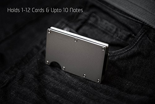Small Compact Silver Wallet for Pocket Money Front Card Clip Metal Holder Credit rqUwECrx