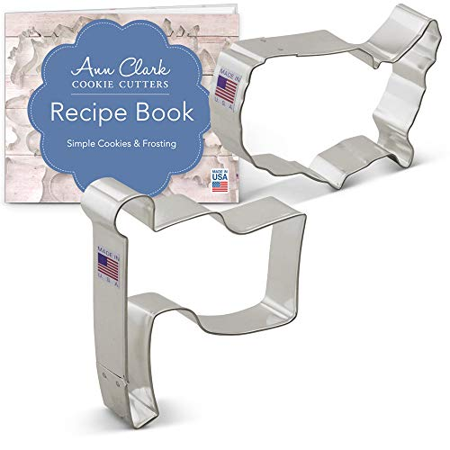USA Cookie Cutter Set with Recipe Booklet - 2 piece - USA Map and American Flag - Ann Clark - USA Made Steel