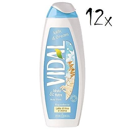 12 x Vidal Milk & Cream con leche de arroz & Avena Espuma Baños Shower Bath