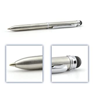 Chrome Multi-function Executive Stylus Pen 2-in-1 Combo; Dual purpose Capacitive Stylus and Ballpoint Pen, Sleek Brushed Chrome Finish with Silver Accents, 2 ink colors in one (blue/black and red), for all iPhone, iPad, Smartphone, Tablet, Touchscreen (Chrome/Silver; Black & Red ink - item DCKM313)