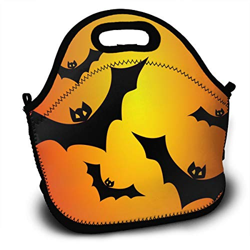 Yisliferunaz Bats Orange Halloween Lunch Bag Portable Bento Bags Food Boxes Carry Case Tote Adults Kids Outdoor Multifunction Handbag Pouch for Picnic Travel School Office Trip Work -