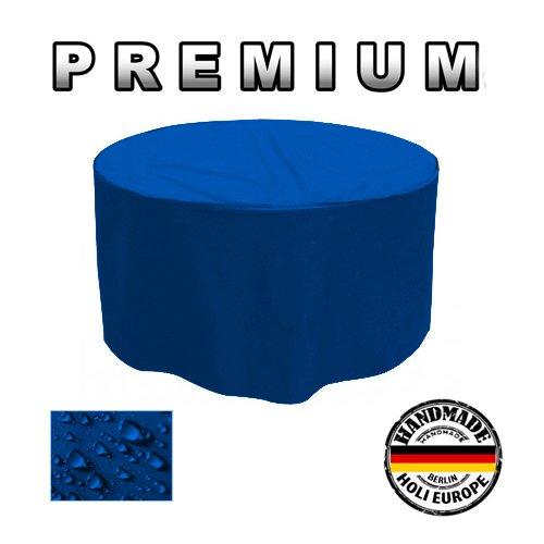 PREMIUM Gartentisch Abdeckung Gartenmöbel Schutzhülle RUND ø 205cm x H 90cm Blau