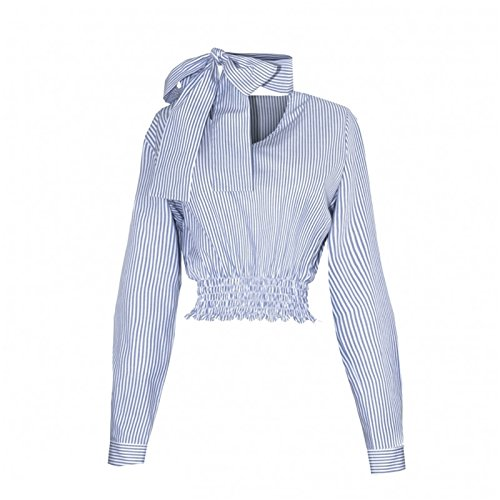 Cuello Detalle de Gargantilla Adornos en el Cuello Manga Larga con Rayas Corta Corto Crop Blusón Blusa Camisero Camiseta Camisa Top Azul Azul