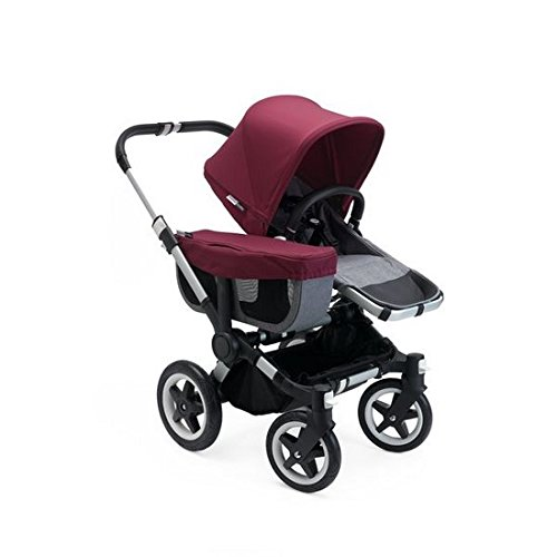 (Bugaboo Donkey 2 Mono Baby Stroller, Foldable Stroller, Converts into Twin Side-by-Side Sibling Stroller, from Birth Baby Stroller, Infant Stroller, Multiple Seat Positions, Grey/Red)