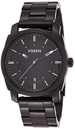 Fossil Men's Machine Quartz Stainless Steel Dress Watch, Color: Black (Model: FS4775) (Black Stainless Steel Mens Watch)