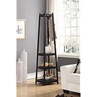 Roundhill Furniture Vassen Coat Rack with 3-Tier Storage Shelves, Black Finish