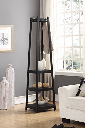 Roundhill Furniture Vassen Coat Rack with 3-Tier Storage Shelves, Black Finish (Wood Black Rack Coat)