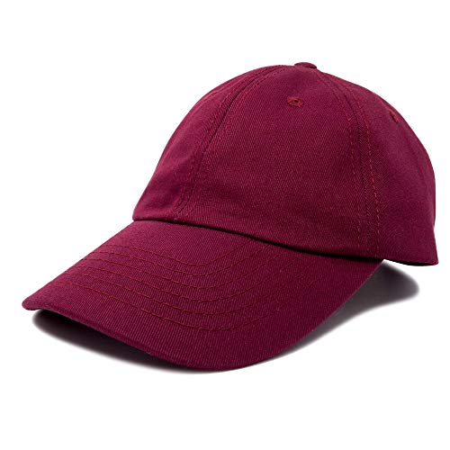 - DALIX Unisex Youth Childrens Cotton Cap Adjustable Plain Hat - Unstructured (Maroon)