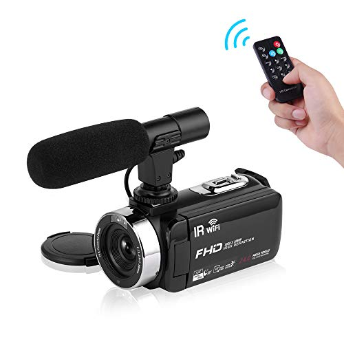 Seree Camcorder Video Camera Full HD 1080P WiFi Vlog Camera Night Vision Digital Camera with External Micphone Vlogging Camera Video Camera for YouTube