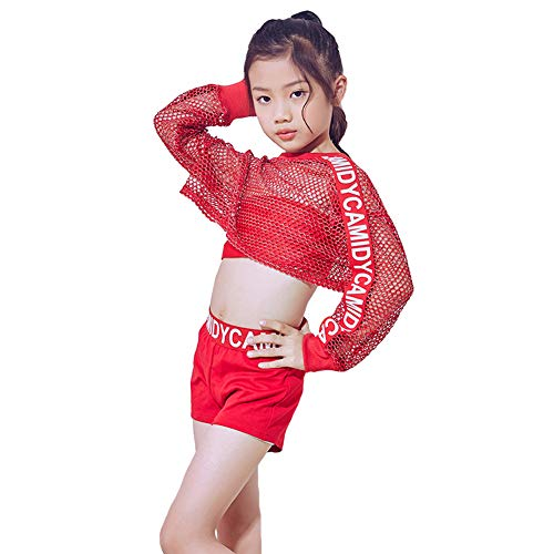 LOLANTA Girls Jazz Dance Clothes Hip Hop Street Dance Costume Pants Outfit(8-10) Red ()