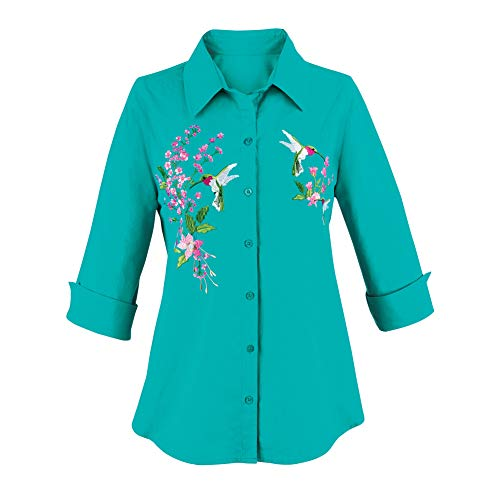 Women's Turquoise Embroidered Hummingbird Button Front Shirt with 3/4 Sleeves and Notched Cuffs, Cute Seasonal Layering, Turquoise, Large