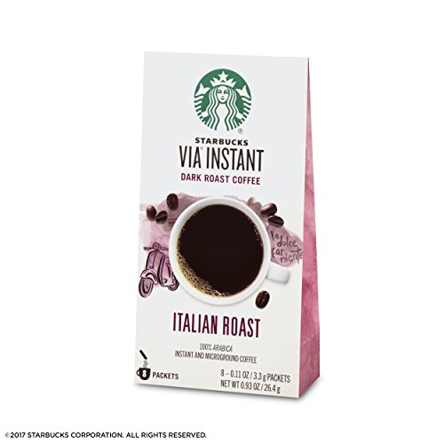 Starbucks VIA Instant Italian Roast Dark Roast Coffee (1 box of 8 packets)