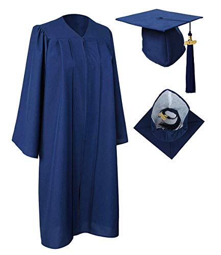 Grad Gown - GraduationRoyal Unisex Adult Matte Graduation Gown Cap Tassel with 2018 Year Charm For High School and College Bachelor Navy