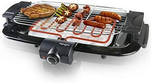 HengBo Barbecue électrique de Table BBQ Electrique Sans Fumée avec bac Collecteur et Thermostat, Réglable en Hauteur, 2000W, Noir