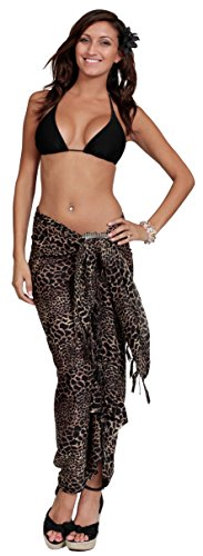 1 World Sarongs Womens Feline Print Swimsuit Cover-Up Sarong in Style 9