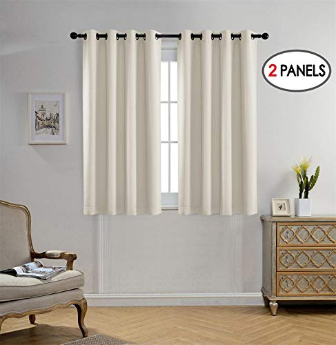 (Miuco Blackout Curtains Room Darkening Curtains Textured Grommet Panels for Window Treatment 2 Panels 52x63 Inch Beige)