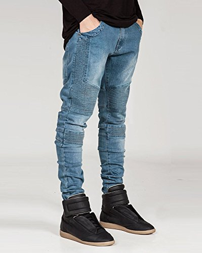Jeans Pantaloni Decorative Moda Cuciture Ultime Uomo Blu Distrutti Biker Maschile 5ZntqHRw