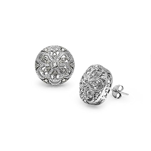 (Sterling Silver Round Filigree Diamond Accent Stud Earrings,)