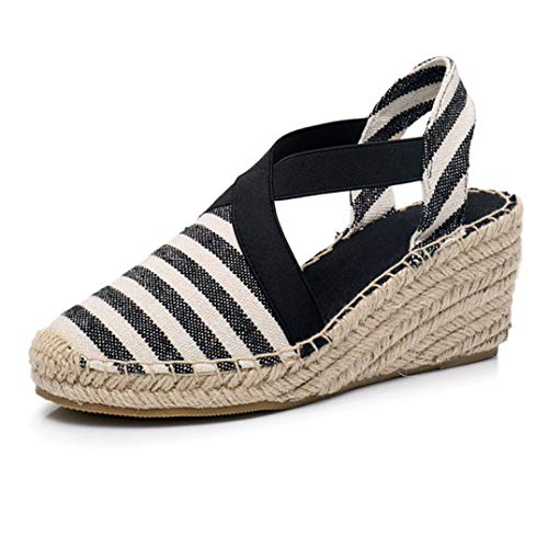 Women Closed Toe Canvas Sandals Anti-Skid Striped Comfy Slingback Casual Platform Wedges Espadrilles