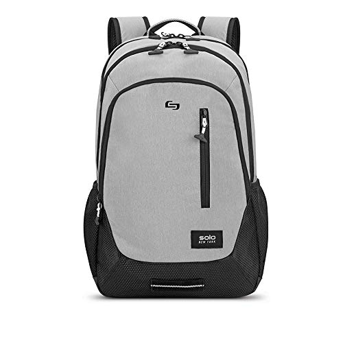 Solo Varsity Region Laptop Backpack for women and men. Fits 15.6-inch laptop and notebook perfect for business, travel, school and college - Grey