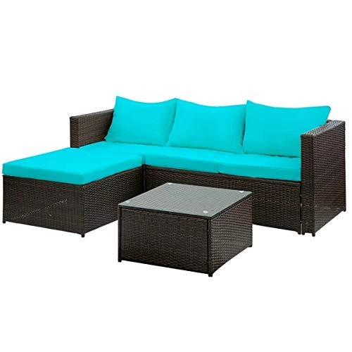 Hooseng Patio PE Rattan Sectional Garden Furniture Corner Sofa Set, 3Pieces-Blue