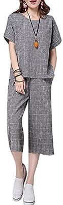 QZUnique Women's Summer Fashion Wide Leg Pants Plus Grid Short Sleeves Suits