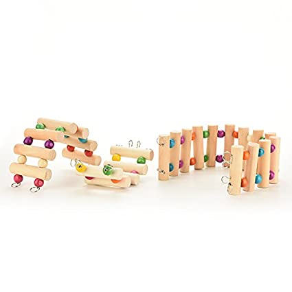 CCCYMM 1 Pcs Wood Hamster Mouse Rat Gerbil Parrot Bird Ladder Bridge Stairs Play Toy,L