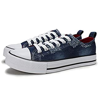 PepStep Canvas Sneakers for Women /Light Blue/Navy/Black Casual Shoes Low Top Lace up Fashion Sneakers (8.5, Dark Blue)
