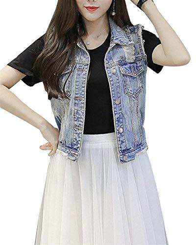 Outerwear Casuale Smanicato Strappato Gilet Giacche Elegante Giacca Jeans Primaverile Blau Moda Button Donna Confortevole Di Tasche Cappotto Donne Casual Autunno Con Battercake wpzqtZRxR