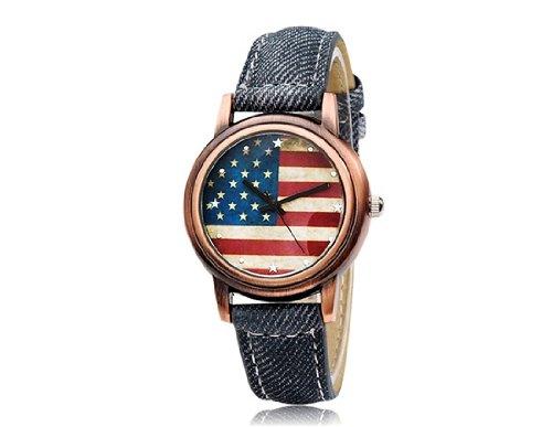 HE Shop MOMENTO M007 mujeres Bandera USA s imprime esfera redonda reloj analógico ...