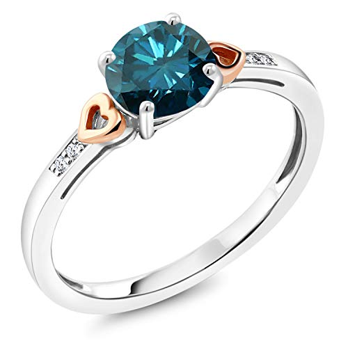 1.13 Ct Round Blue Diamond White Diamond 925 Sterling Silver and 10K Rose Gold Ring (Size 9) from Gem Stone King