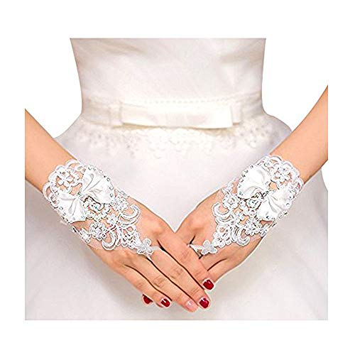 (VITORIA'S GIFT The Bride Marriage Dress Wedding Sequin Lace Gloves Wedding)
