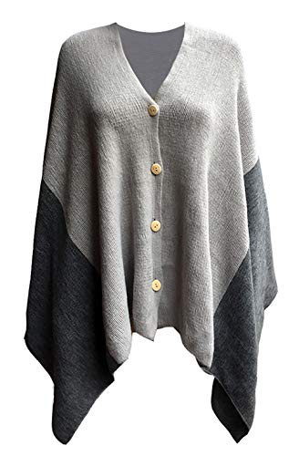 Women's Vintage Plaid Knitted Poncho Shawl Cape Button Cardigan Coat Dark Gray