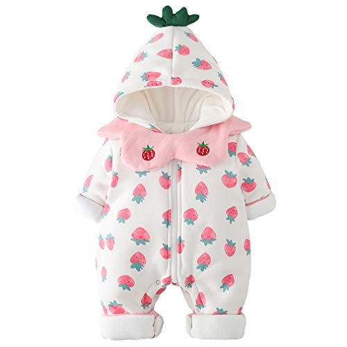 - Baby Girl Snuggly Bunting Puffer Romper Fleece Lined Snowsuit White Suit for Newborn and Infant with Strawberry Print and Detachable Scarf