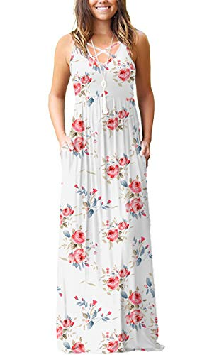LILBETTER Women's Casual Loose Long Dress Sleeveless Floral Print Maxi Dresses with Pockets(XXL,Flower White)