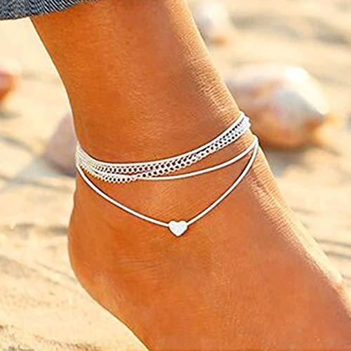 Artmiss Boho Elephant Anklet Lovely Animal Pendant Vintage Ankle Bracelet Foot Jewelry for Women Summer Barefoot Beach Anklet(set of 2)