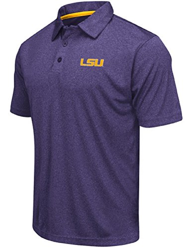 (Colosseum Men's NCAA Heathered Trend-Setter Golf/Polo Shirt-LSU Tigers-Heathered)