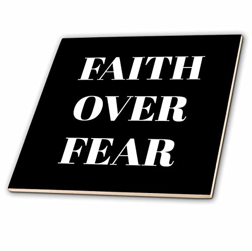 3dRose Xander inspirational quotes - Faith over fear, white letters on a black background - 8 Inch Glass Tile (ct_265910_7) by 3dRose