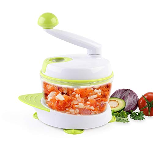 MIGECON Kitchen Manual Food Processor Meat Mincer Vegetable Chopper with Hand Crank and 3 Blades Green Color
